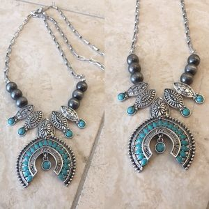 Jewelry - Silver & Turquoise Necklace - Handmade!!